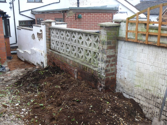 Existing Wall Before Work - Landscaping job in Lightwood