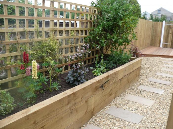 Raised sleeper border - Landscaping job in Lightwood, Stoke-on-Trent