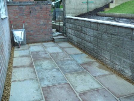 Stone Patio & Block Retaining Wall - Landscaping in Longton