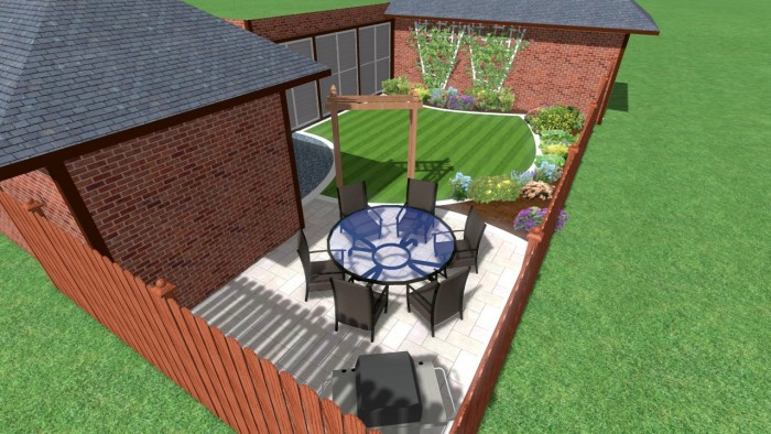 Modern Garden with White Paving