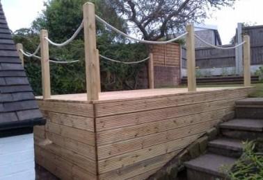Decking jhps gardens jhps gardens for Garden decking with rope