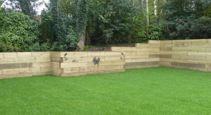 Wooden Sleeper Wall in Staffordshire
