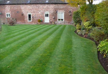 Large Lawn Expertly Mowed with Football Pitch Style Stripes