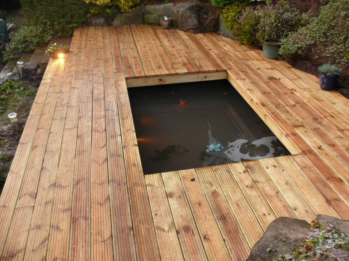Pond with decking surround