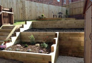 Flower Beds surrounded by Railway Sleepers