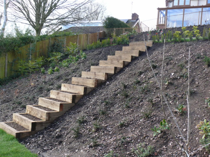 Wooden Sleeper Steps - Landscaping in Staffordshire