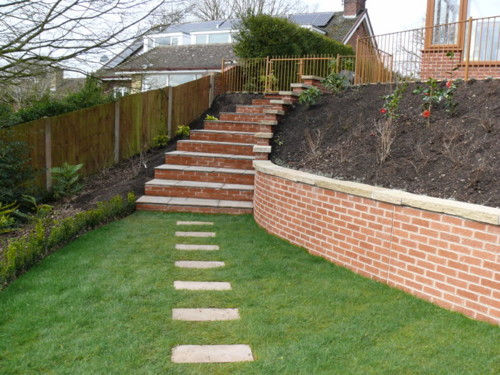Landscaping in Staffordshire - Brick Wall and Steps