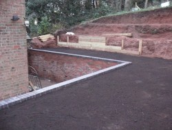 Brick wall, levelled top soil, Watson, Cheadle 1
