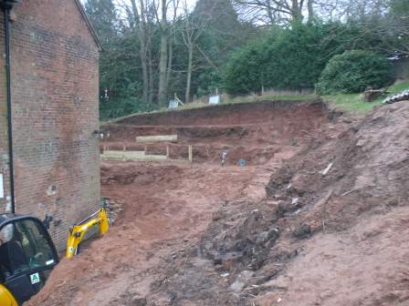Digging out for retaining wall - Landscaping in Cheadle