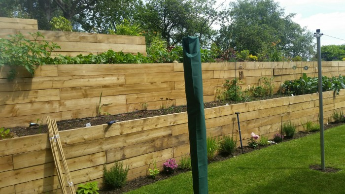 Railway Sleepers and Borders - Landscaping in Cheadle