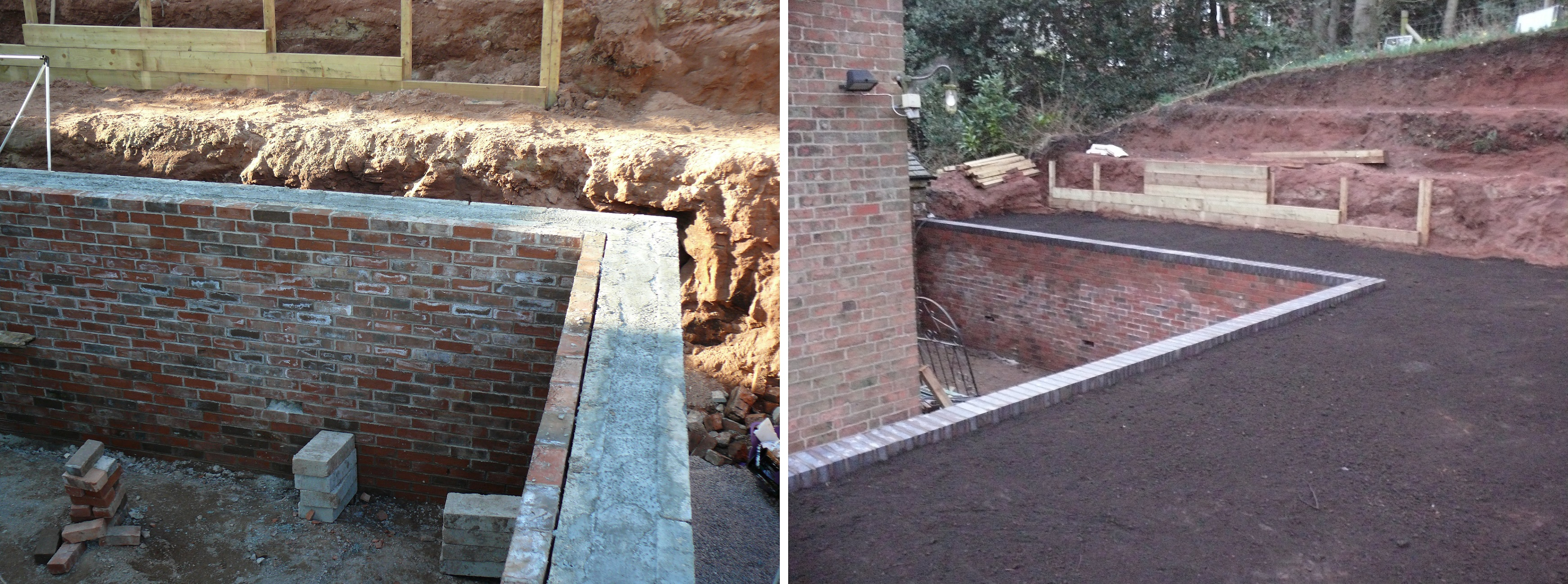 Brick Retaining Wall and Levelled Top Soil - Landscaping in Cheadle, Staffordshire