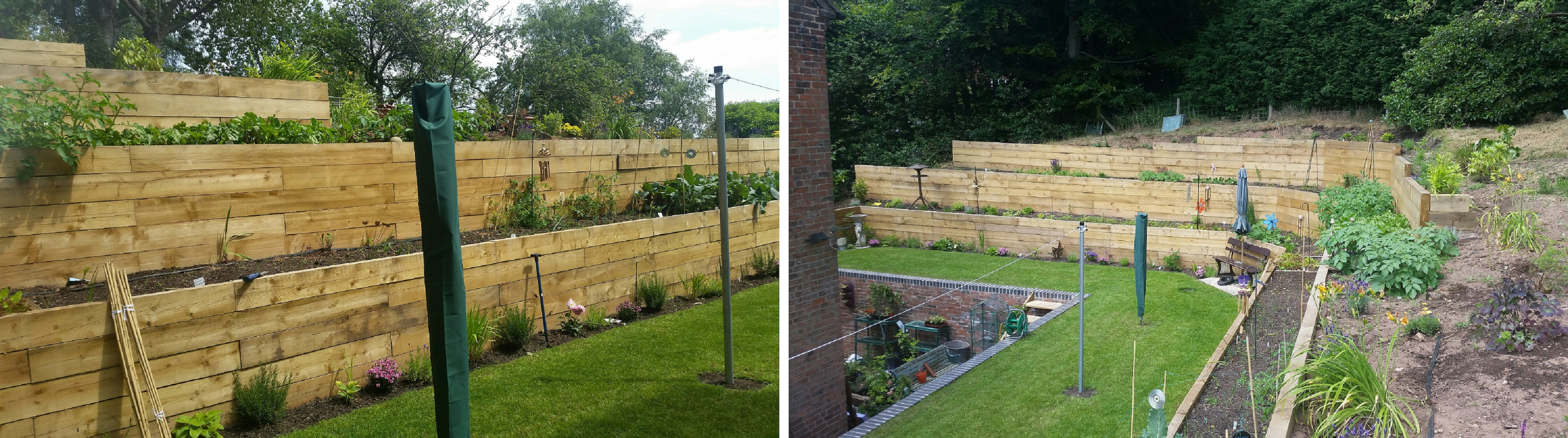 Landscaping in Cheadle, Staffordshire - Railway Sleeper Retaining Walls