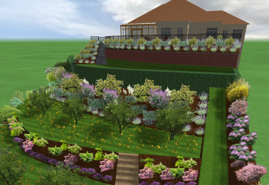A design we completed for a very steep garden!!