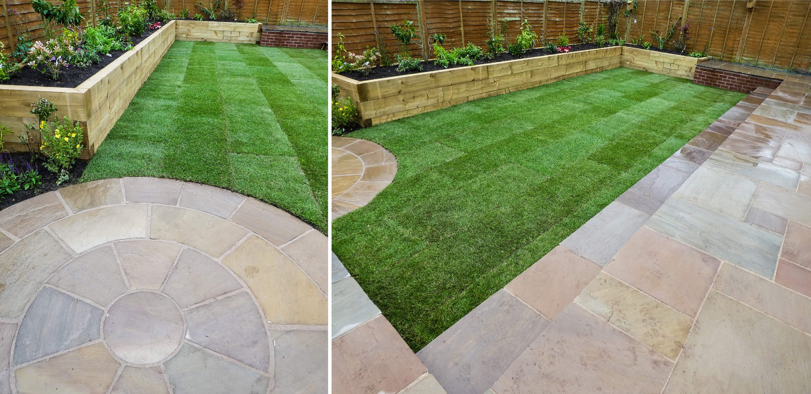 Landscaping in Cheshire - Raised Sleeper Border, Turfing and Indian Stone Paving