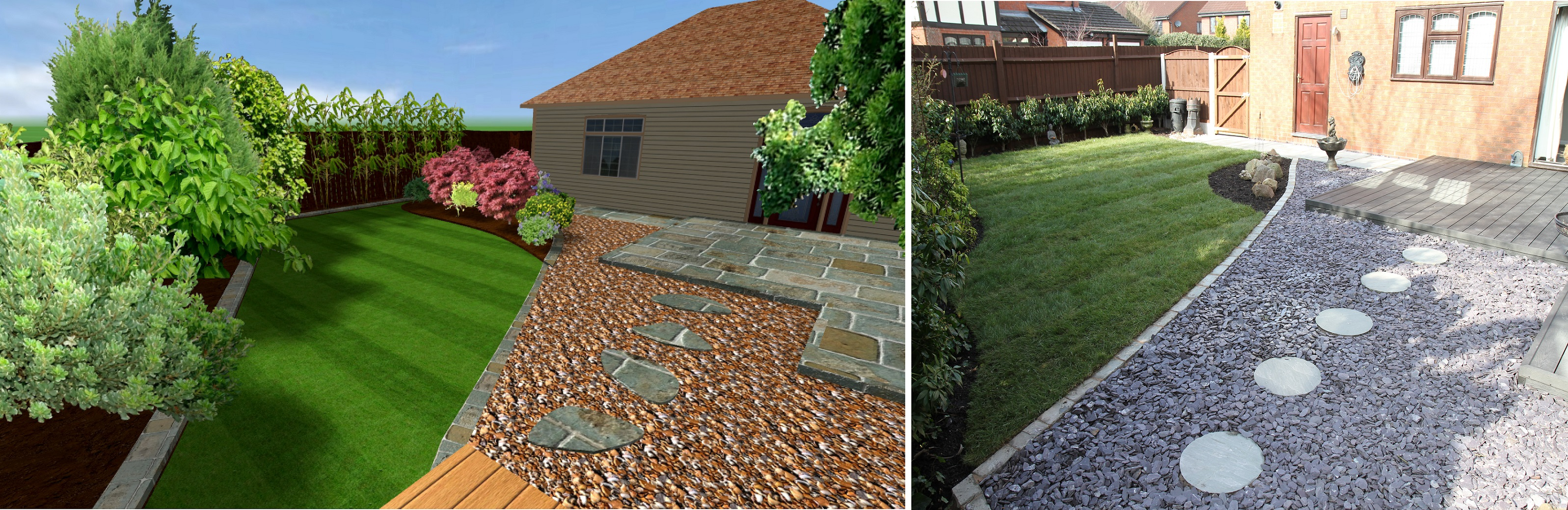 Landscaping in Newcastle under Lyme - 3D CAD Drawing and Completed Landscaping Staffordshire
