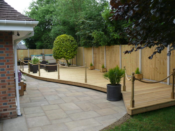 After - Decked Patio area - Landscaping in Mottram St Andrew
