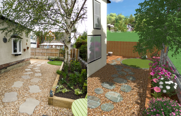 3D CAD drawing - Before and After - Landscaping in Alderley Edge