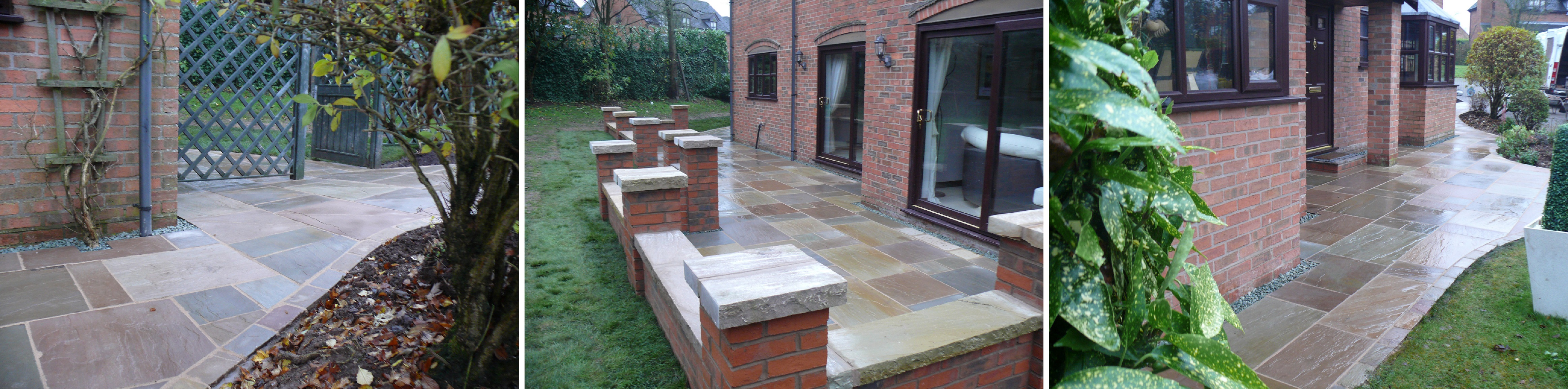 Landscaping in Prestbury - Indian Stone Paving and Brick Wall