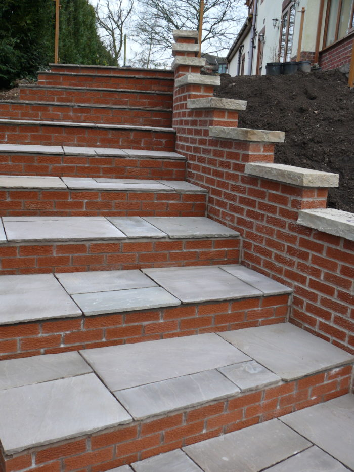 Brick Steps with Indian Stone - Landscaping in Knutsford