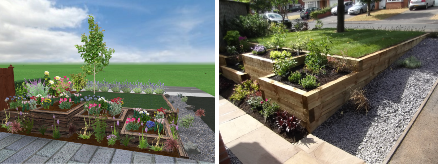 Landscaping in Stafford - 3D CAD Drawing and After
