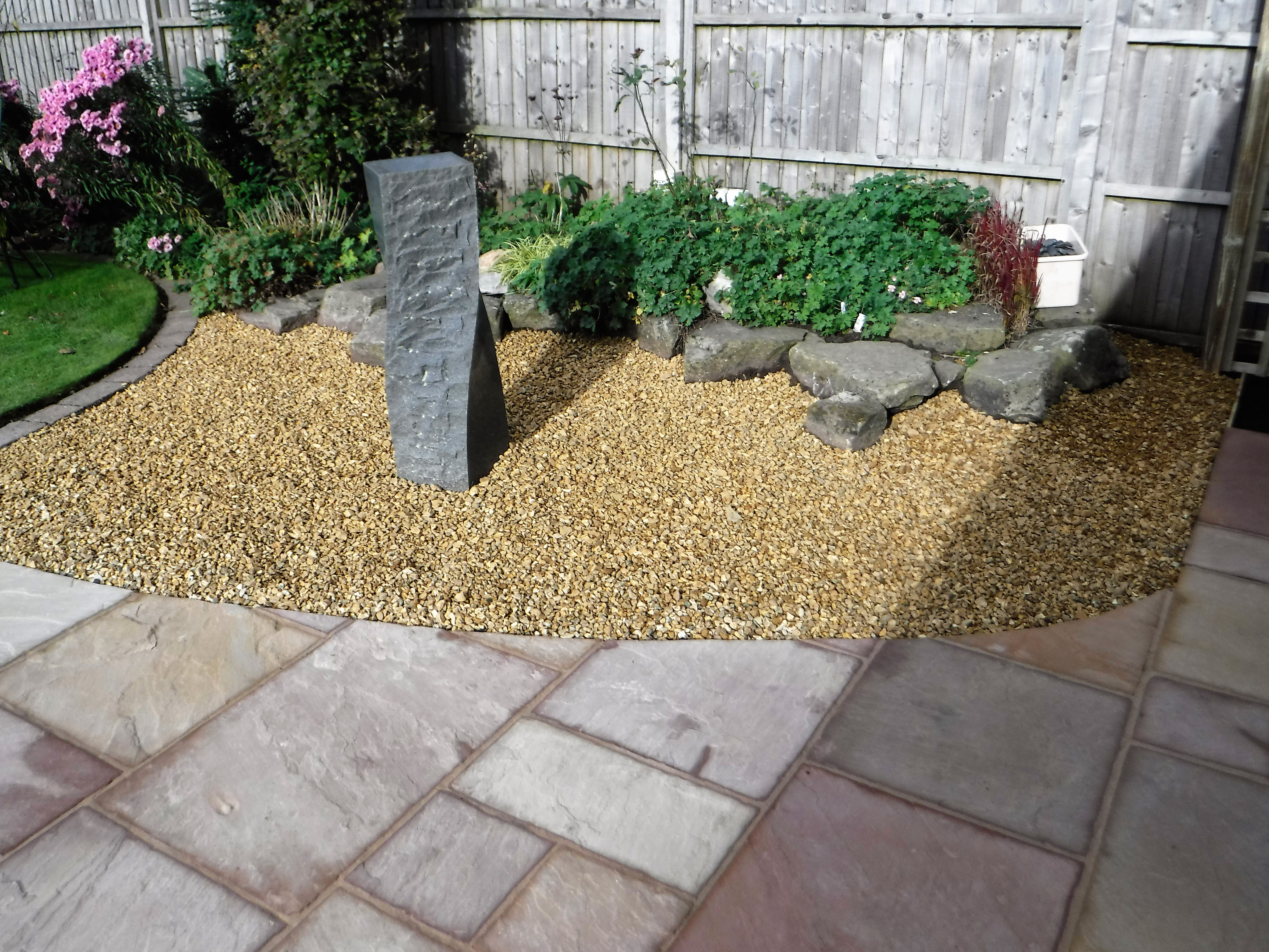 Patio Area and Stone Water Feature