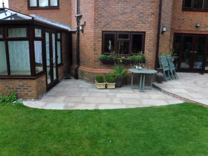 Landscape Gardener in Staffordshire - Patio Area and Turfing