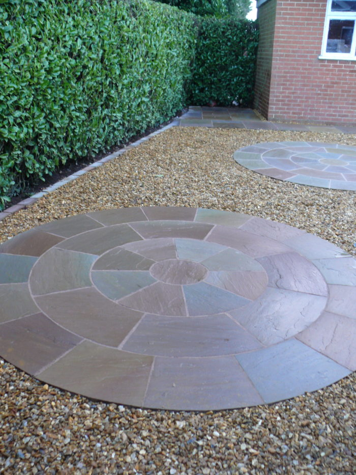 Gravel Area with Indian Stone Circles - Landscape Gardener in Macclesfield