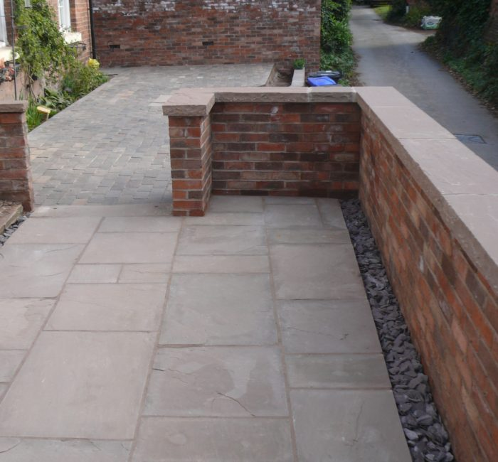 Brick Wall with Stone Capping - Landscaping in Staffordshire