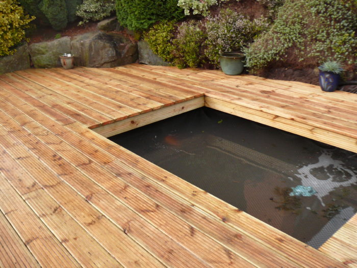 Pond with Decking - Landscaping in Cheshire