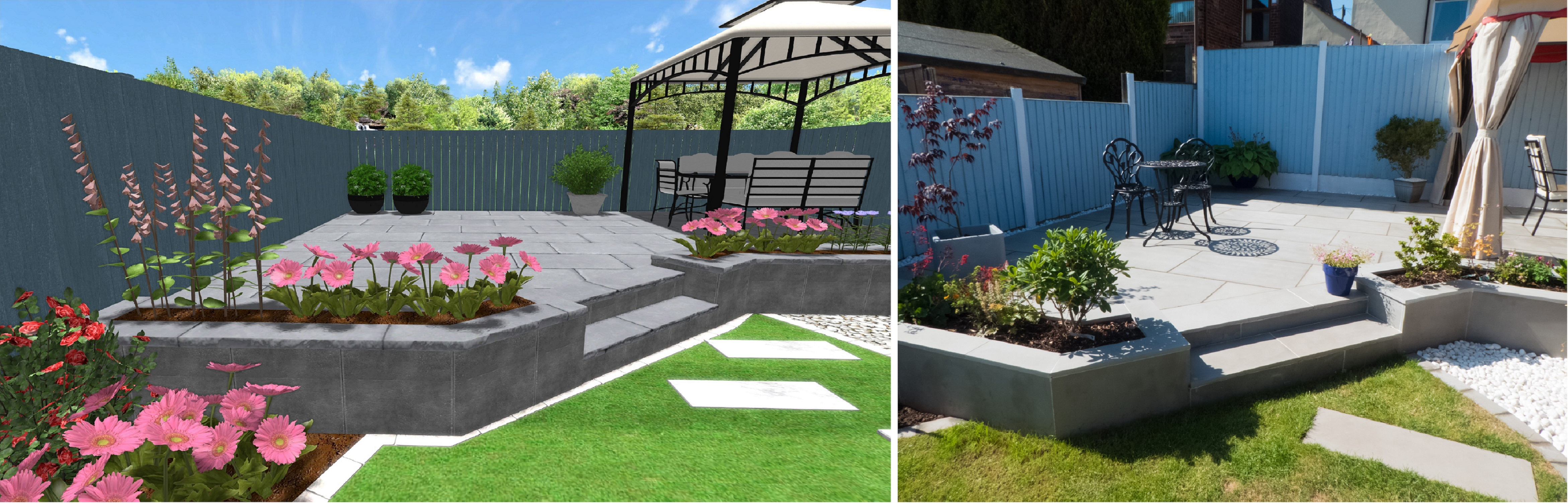 3D CAD Design and Completed Modern Landscaping