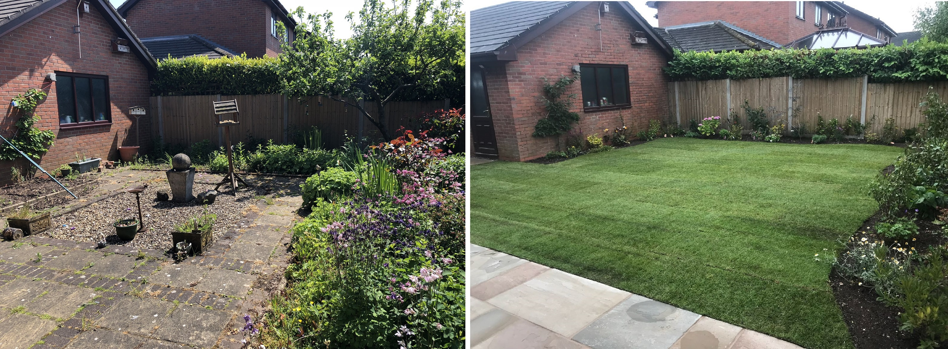 Before and After Landscape Gardener in Cheadle - Turfing