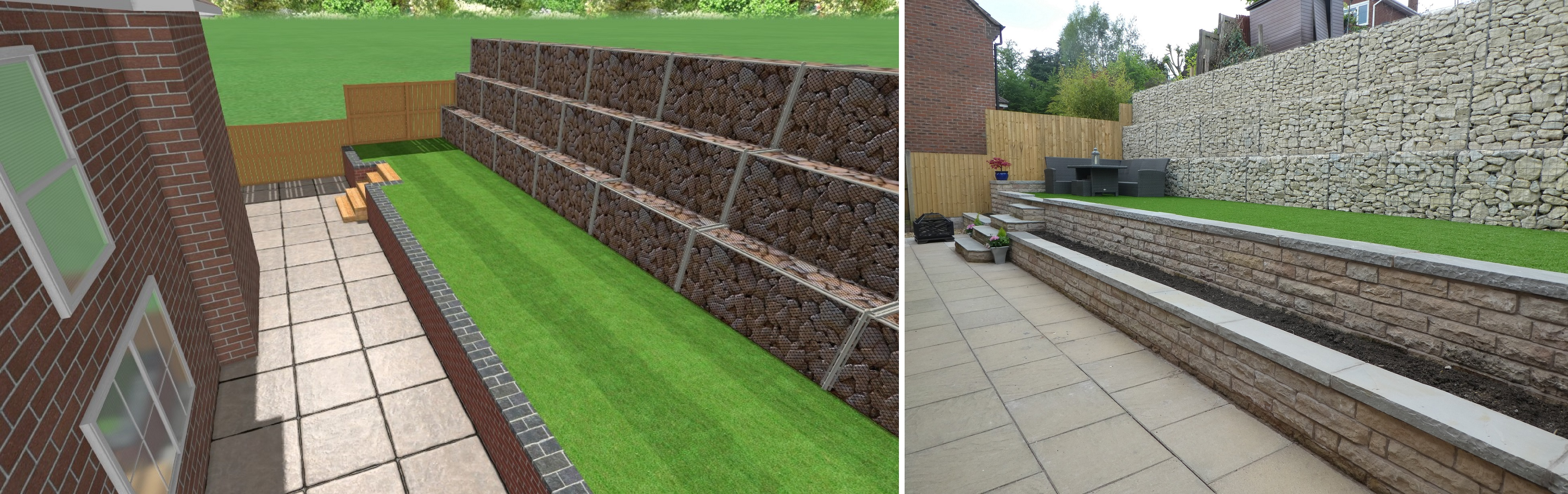 Landscaping in Loggerheads - 3D CAD Drawing and Completed Landscaping