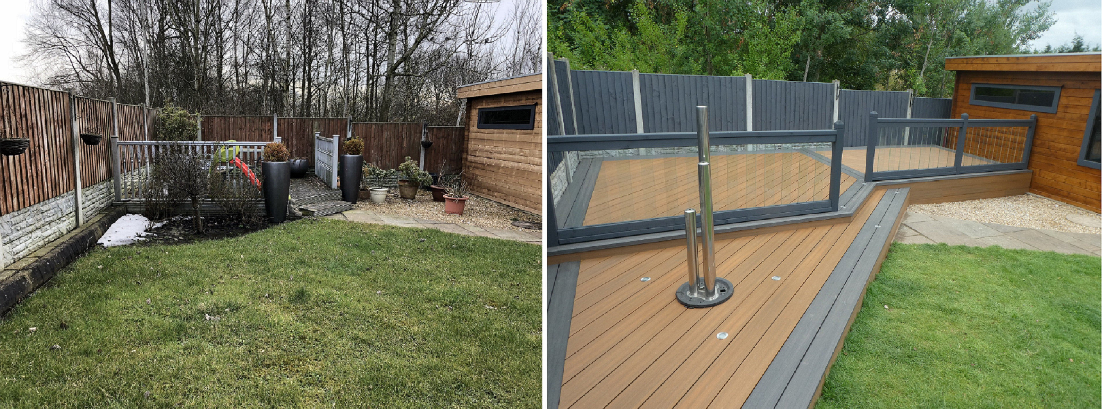 Before and After Installing Composite Decking